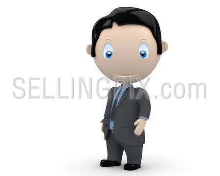 Businessman! Social 3D characters: happy young business man stands still. New constantly growing collection of expressive multiuse people images. Concept for people in business illustration. Isolated.