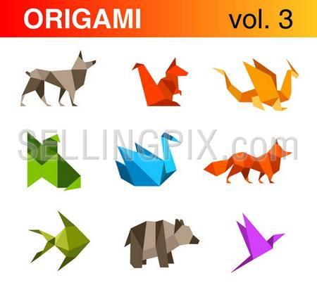 Origami animals logo template set 3:Dog, squirrel, dragon, fox, swan, fish, bear, bird icons.Vector.