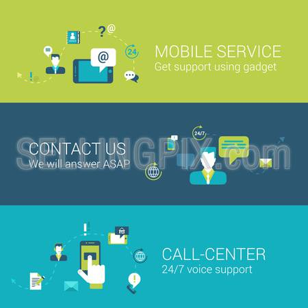Mobile support service contact call center concept flat icons set of touch phone gadget online chat email call voice and vector web illustration website click infographics elements collection.