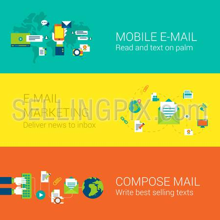 Email mobile marketing subscription concept flat icons set of mail touch screen phone world global news delivery inbox and vector web illustration website click infographics elements collection.