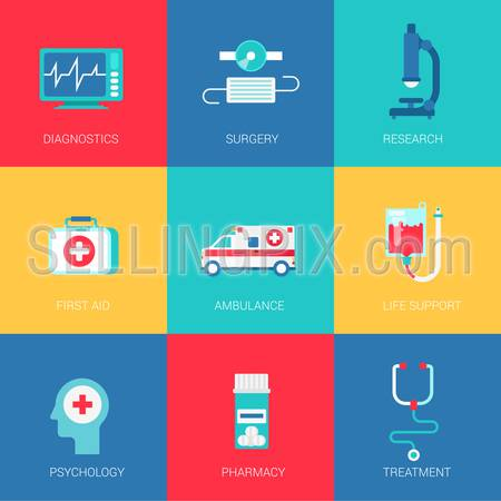 Flat medicine healthcare design icons set diagnostics surgery research first aid ambulance life support psychology pharmacy modern web click infographics style vector illustration concept collection.
