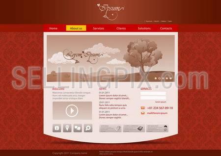 Website template for hotel, restaurant, beuty & spa salon etc. Vintage pattern background design. Editable.