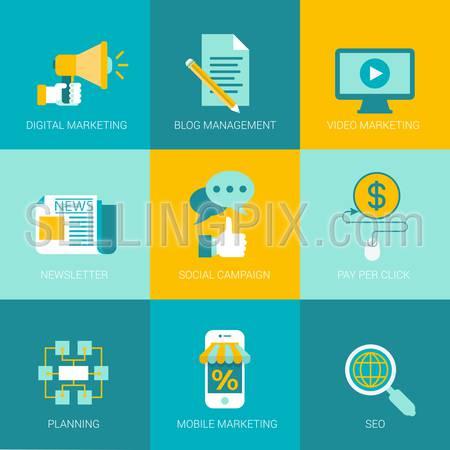 Flat online digital marketing business design icons set management video newsletter subscription social planning mobile seo modern web click infographics style vector illustration concept collection.