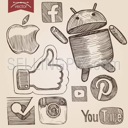 Engraving style crosshatch pen on paper sketch retro vintage vector lineart illustration set of social media icons. Apple, facebook, android, like sign, pinterest, YouTube, Instagram, Foursquare stylization.