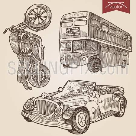 Engraving style pen pencil crosshatch hatching paper painting retro vintage vector lineart illustration road transport set. Motorbike, double dekker classic two floor bus and retro convertible cabrio car.
