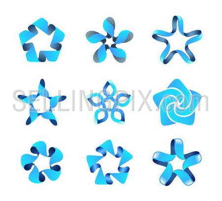 Business blue vector abstract logo template set. 5 point star in plot of icon design