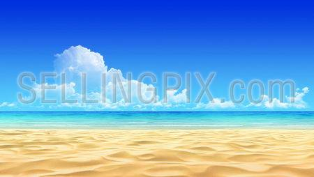 Idyllic tropical sand beach background. No noise, clean, extremely detailed 3d render. Concept for rest, relaxation, holidays, spa, resort design.