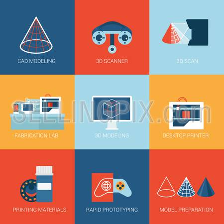 Flat icons set 3D technology modeling scanner scanning printer printing prototype prototyping web click infographics style vector illustration concept collection.