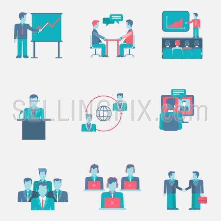 Flat icons set business people team group support presentation staff partnership web click infographics style vector illustration concept collection.