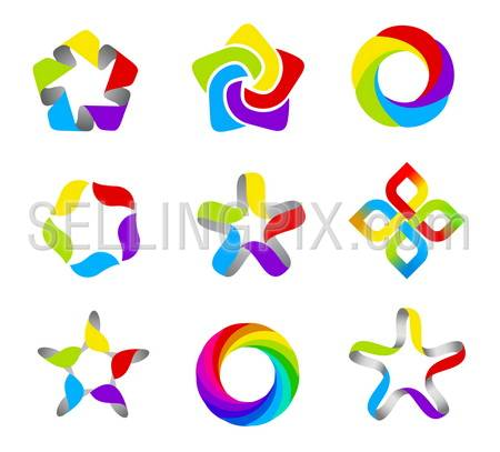 Business abstract logo template set. 5 point ribbon stars icon. Vector. Designed for any type of business.