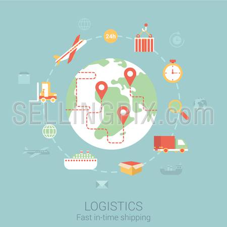 Modern flat design concept for logistics shipping delivery transport ship car lorry van global world and vector web banners illustration print materials website click infographics elements collection.