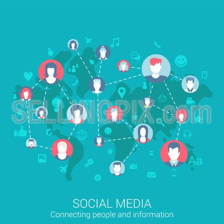 Modern flat design concept for social media global worldwide people connections information exchange and vector web banners illustration print materials website click infographics elements collection.