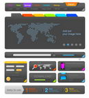Web design UI elements toolkit pack. Interface Colorful Dark theme. Vector. Editable.