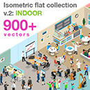 Isometric flat world collection version 2: INDOOR